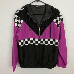 Forever 21 Retro 1/2 Zip Windbreaker Purple, Black